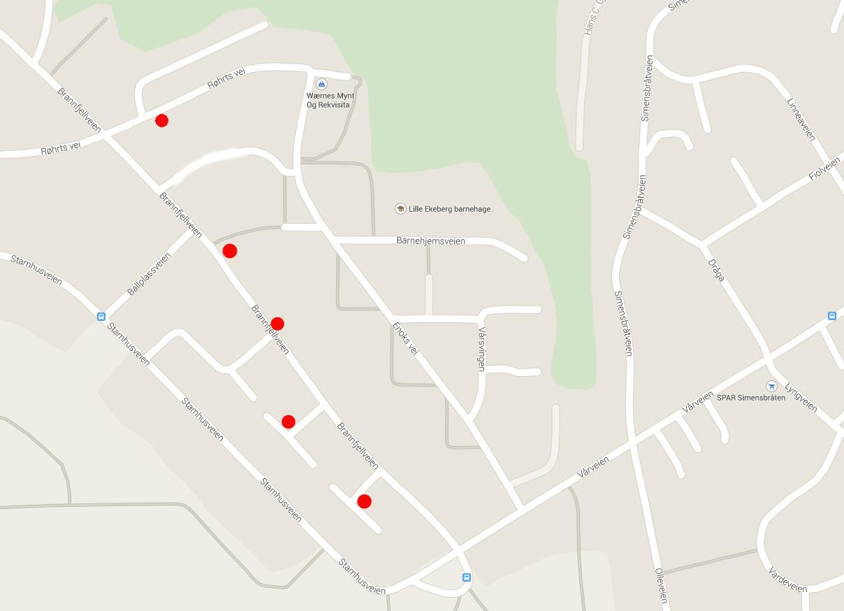 kart over hentesteder for hageavfall